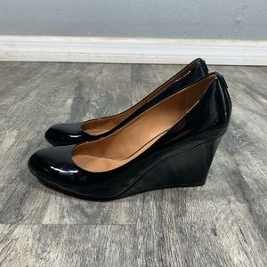 Coach Roni Black Patent Leather Round Toe Wedges 9